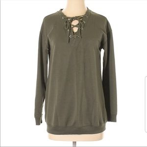 Army Green Lace Up Sweatshirt